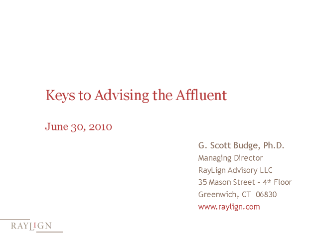 Keys to Advising the Affluent
