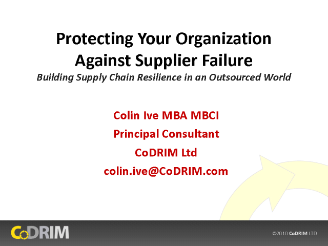 Protecting Your Organization Against Supplier Failure