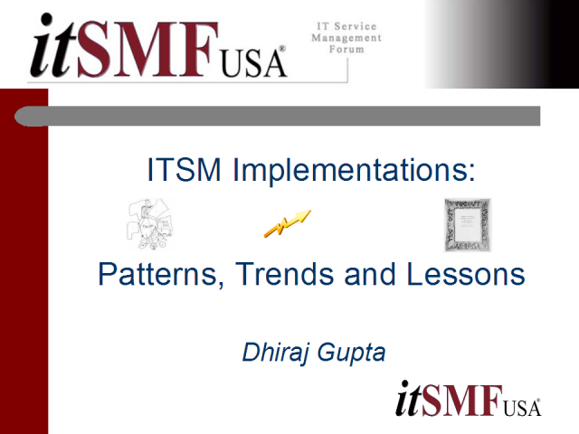 ITSM Implementations - Patterns, Trends and Lessons