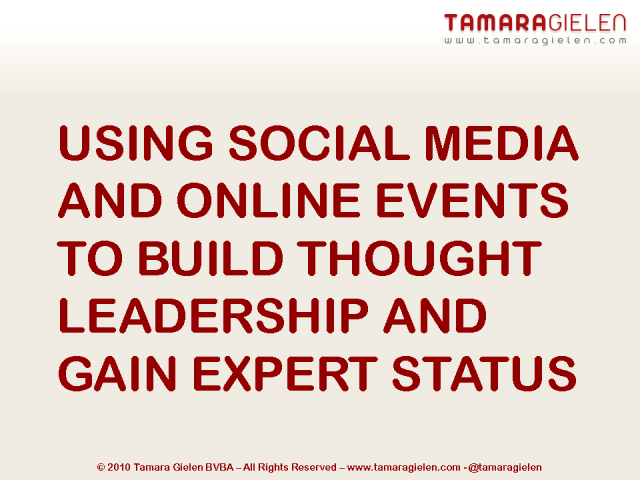 Using Social Media and Online Events to Build Thought Leadership