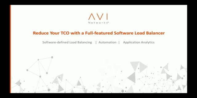 Reduce your TCO with a full-featured software load balancer
