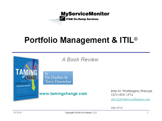 Portfolio Management & ITIL©: A Book Review