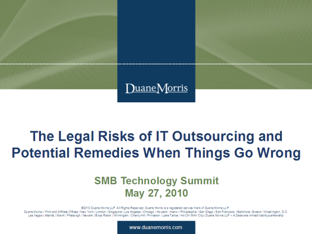 Legal Risks of IT Outsourcing & Remedies when gone awry