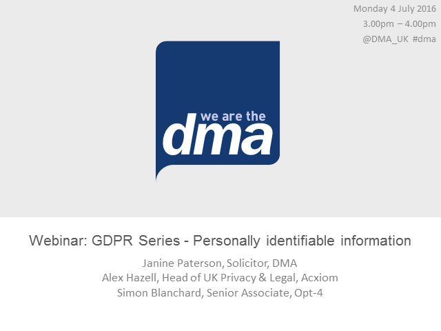 Webinar: GDPR Series - Personally identifiable information