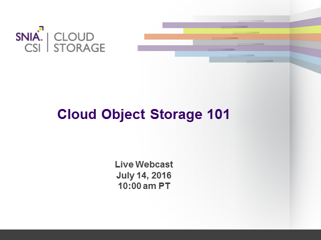 Cloud Object Storage 101