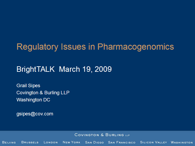 Regulatory Issues in Pharmacogenomics