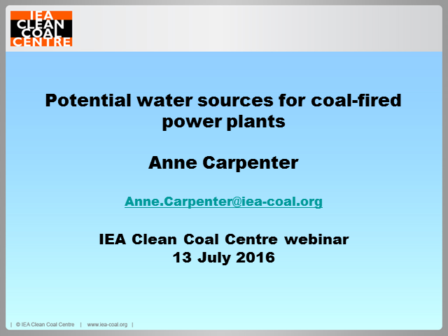 Potential water sources for coal-fired power plants