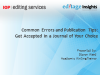 Common errors and publishing tips