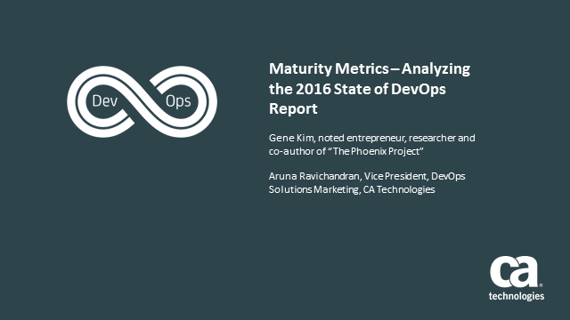 Maturity Metrics – Analyzing the 2016 State of DevOps Report