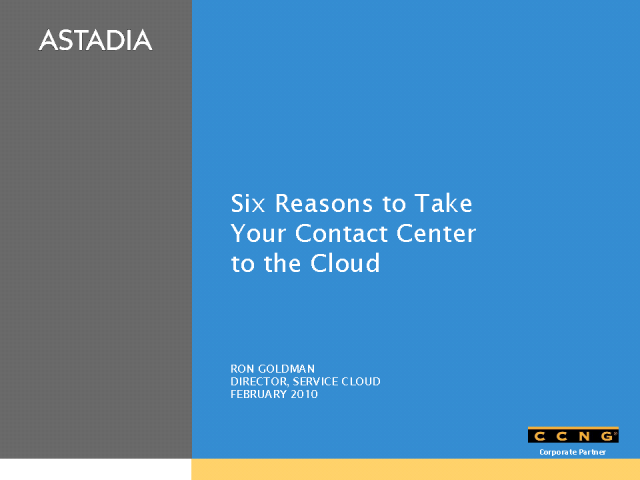 Six Reasons to Consider Cloud Computing for Your Contact Center