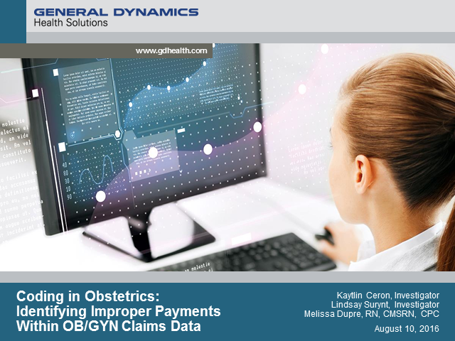 Coding in Obstetrics: Identifying Improper Payments Within OB/GYN Claims Data