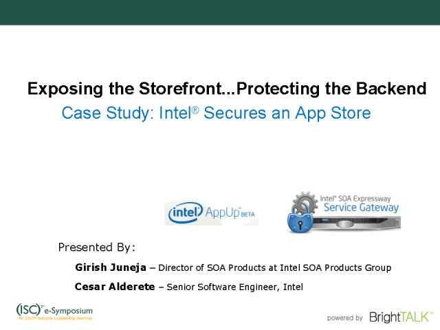 Exposing the Storefront…Protecting the BackEnd