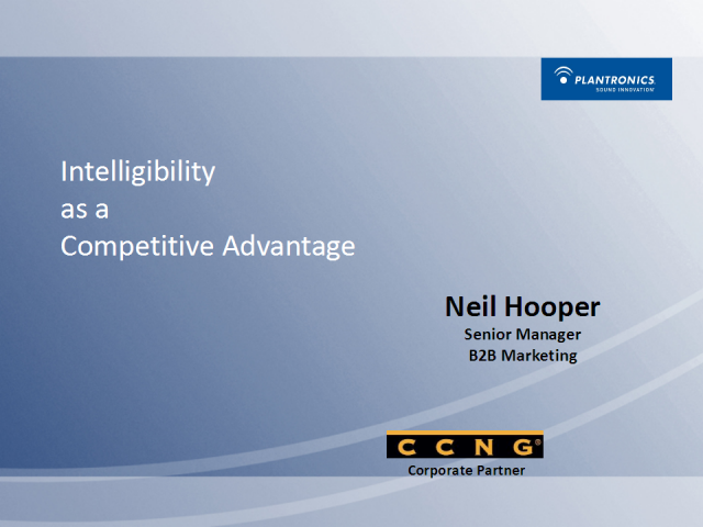 Intelligibility as a Competitive Advantage in the Call Center