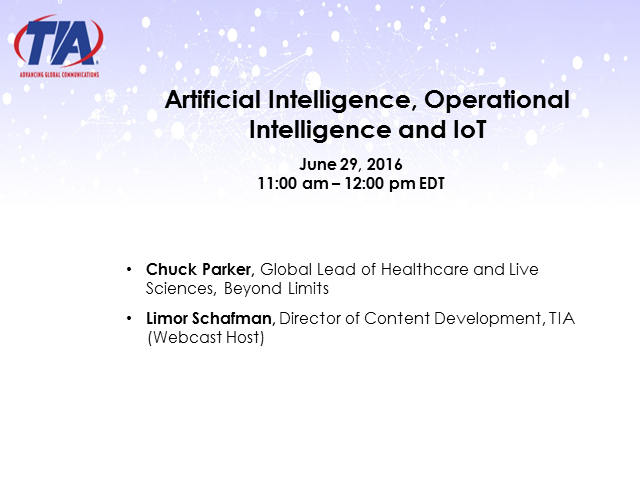 Artificial Intelligence, Operational Intelligence and IoT