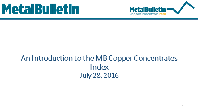 How Metal Bulletin's copper TC/RC index reflects the market