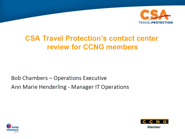 CSA Travel Protection's contact center Best Practice reveiw