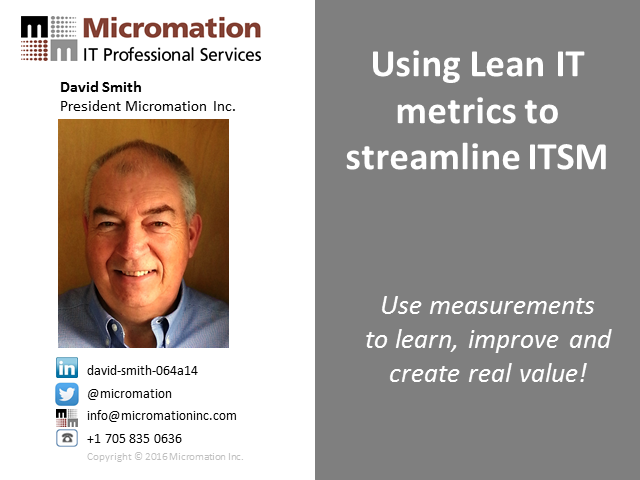 Using Lean IT  metrics to streamline ITSM