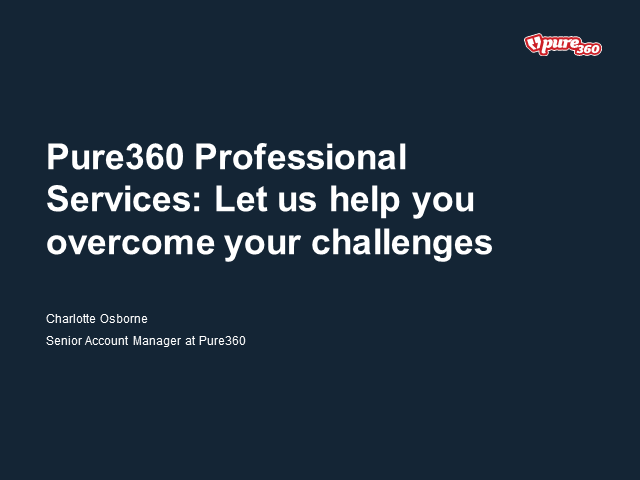 Pure360 Professional Services:  Let us help you overcome your challenges
