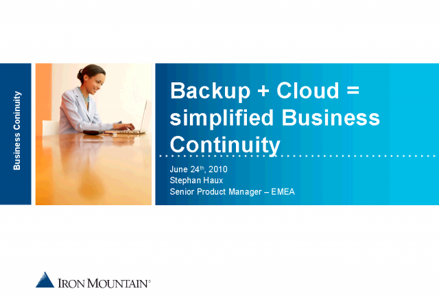 Backup + Cloud = Simplified Business Continuity