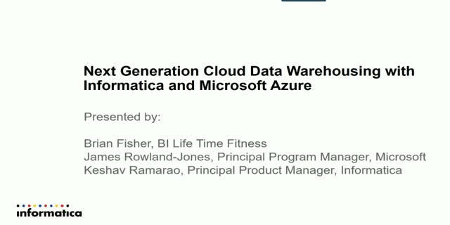 Next Generation Cloud Data Warehousing with Informatica and Microsoft Azure