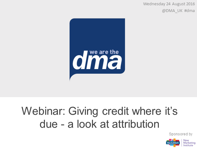 Webinar: Giving credit where it's due – a look at attribution