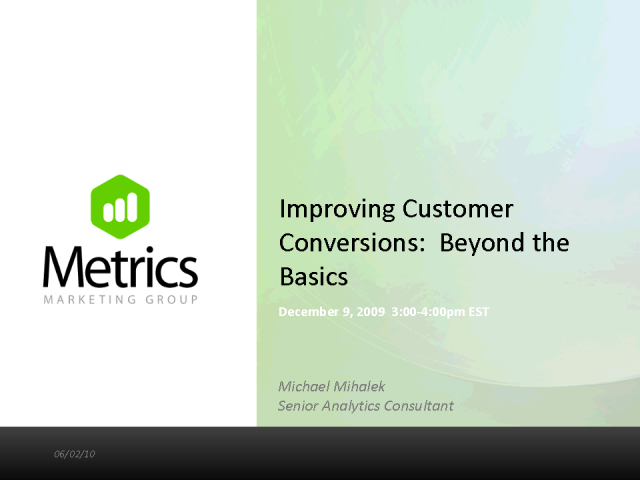 Customer Conversion Optimization