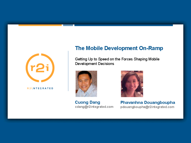 The Mobile Development On-Ramp: Getting up to speed