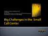 Big Challenges in the Small Call Center