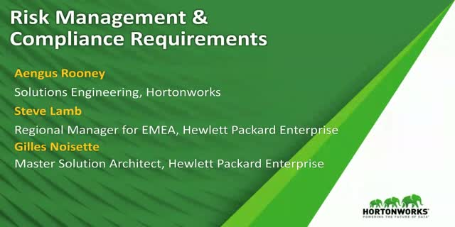 Addressing Risk Management Compliance with HPE and Hortonworks
