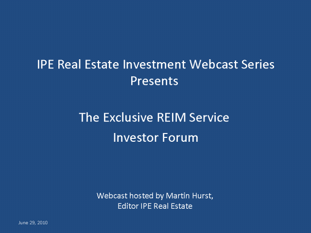 IPE Real Estate Investment Investor Forum