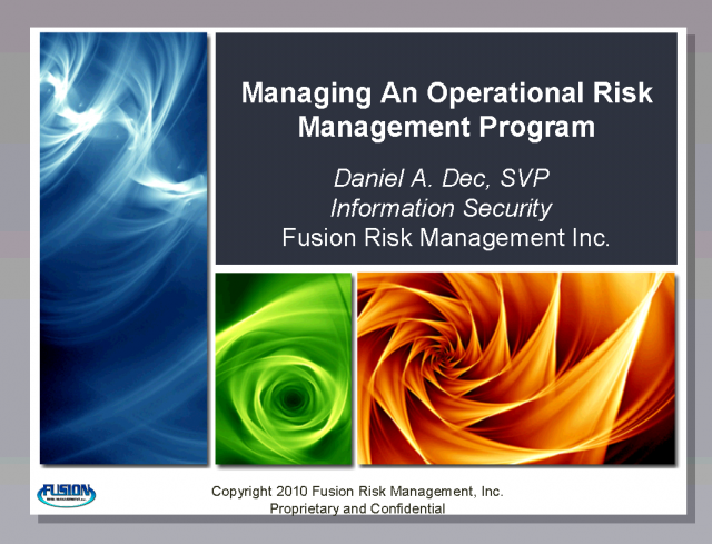 Managing an Operational Risk Management Program