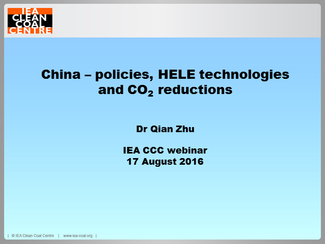China - policies, HELE technologies and CO2 emission reduction