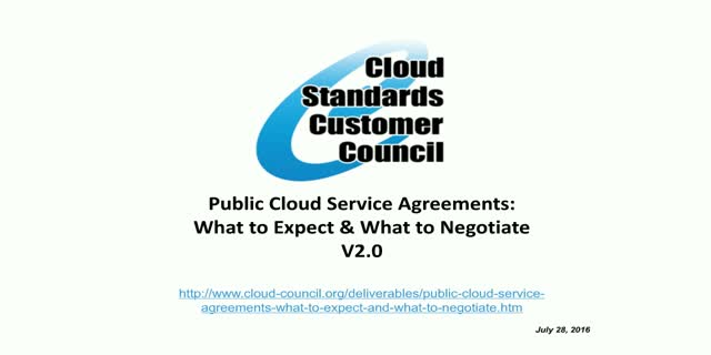 Public Cloud Service Agreements: What to Expect and What to Negotiate V2.0
