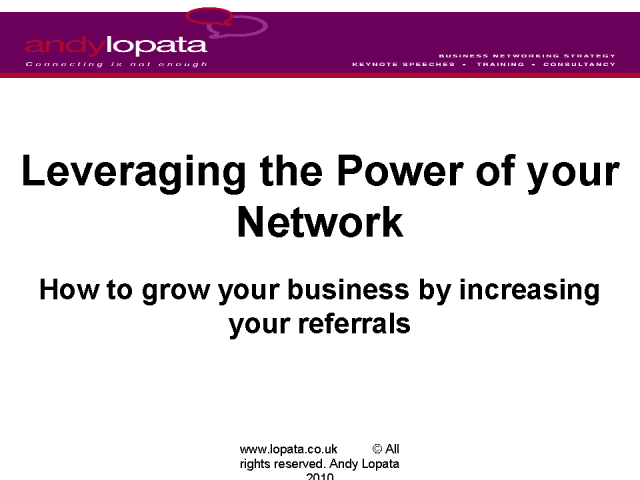 Leveraging the Power of Your Network: How to grow your business