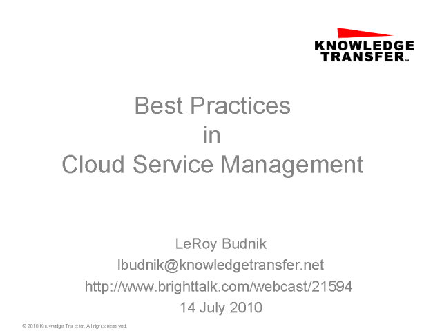 Best Practices in Cloud Service Management