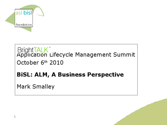 BiSL: Application Lifecycle Management, A Business Perspective
