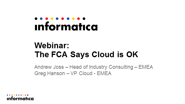 The FCA Says the Cloud is OK