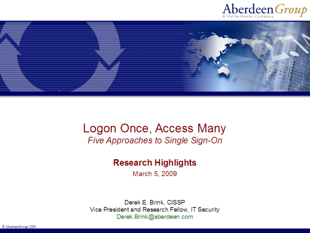 Logon Once, Access Many: Five Approaches to Single Sign-On