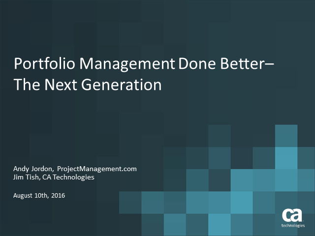 Portfolio Management Done Better– The Next Generation