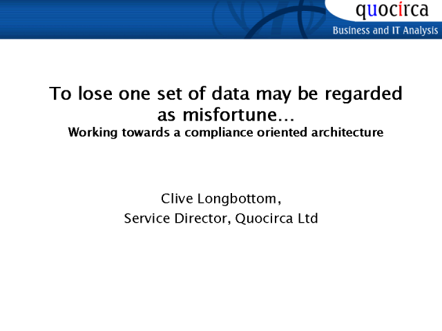 To Lose One Set of Data May Be Regarded As Misfortune...