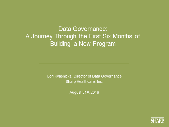 A Journey Through the First 6 Months of Building a New Data Governance Program
