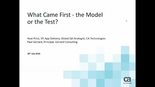 What Came First - the Model or the Test?
