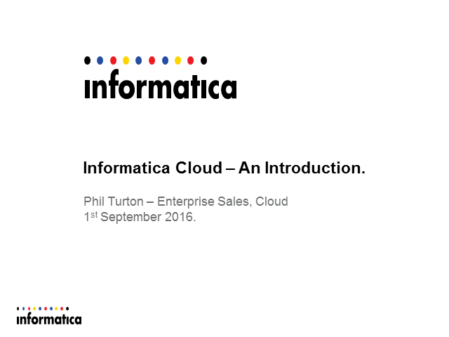 Informatica Cloud – An Introduction