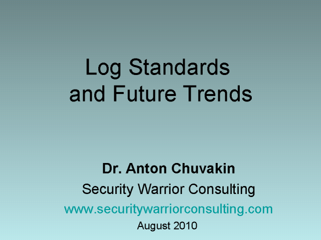 Log Standards & Future Trends