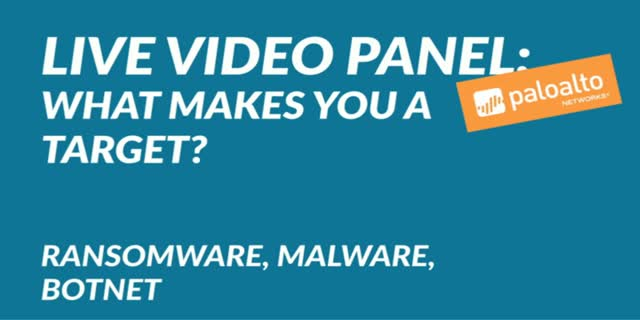 Live video panel: What makes you a target? Ransomware, Malware, Botnet