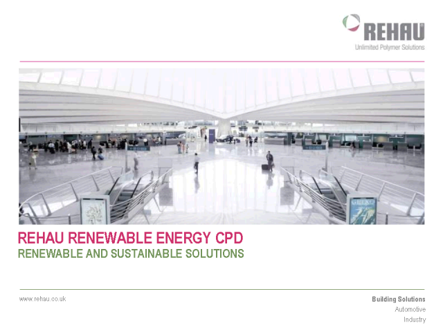 REHAU's RIBA Approved Renewable Energy CPD