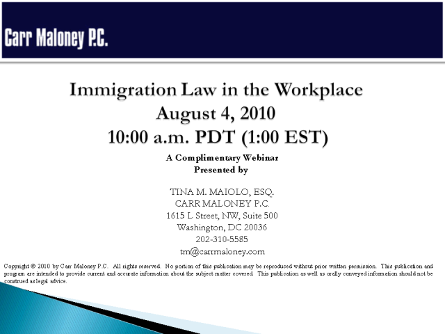 Immigration Law in the Work Place