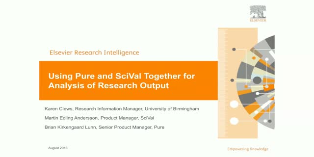 Using Pure and SciVal Together for Analysis of Research Output