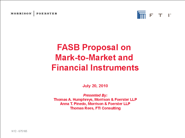 FASB Proposal on Mark-to-Market and Financial Instruments