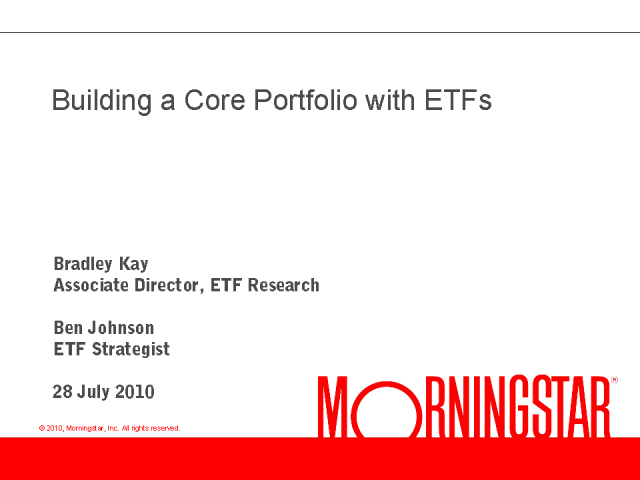Building a Core Portfolio with ETFs